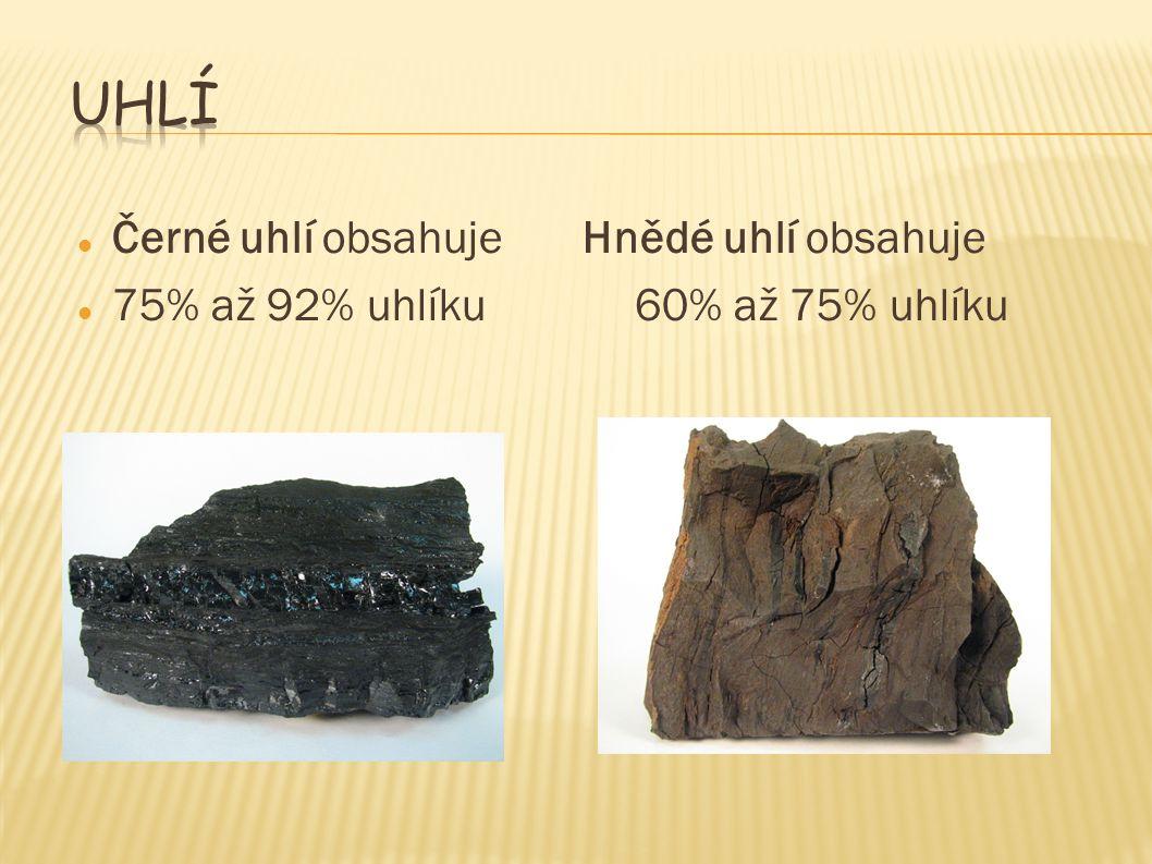 Černé uhlí obsahujeHnědé uhlí obsahuje 75% až 92% uhlíku60% až 75% uhlíku