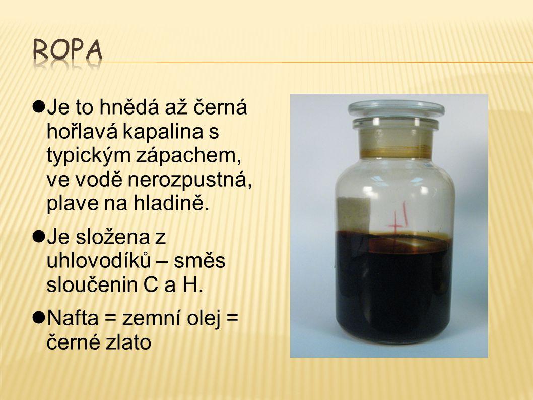 Je to hnědá až černá hořlavá kapalina s typickým zápachem, ve vodě nerozpustná, plave na hladině. Je složena z uhlovodíků – směs sloučenin C a H. Naft