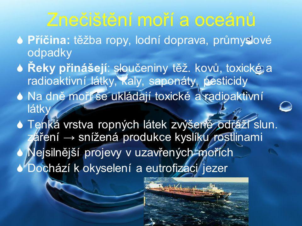 Znečištění moří a oceánů  Příčina: těžba ropy, lodní doprava, průmyslové odpadky  Řeky přinášejí: sloučeniny těž. kovů, toxické a radioaktivní látky
