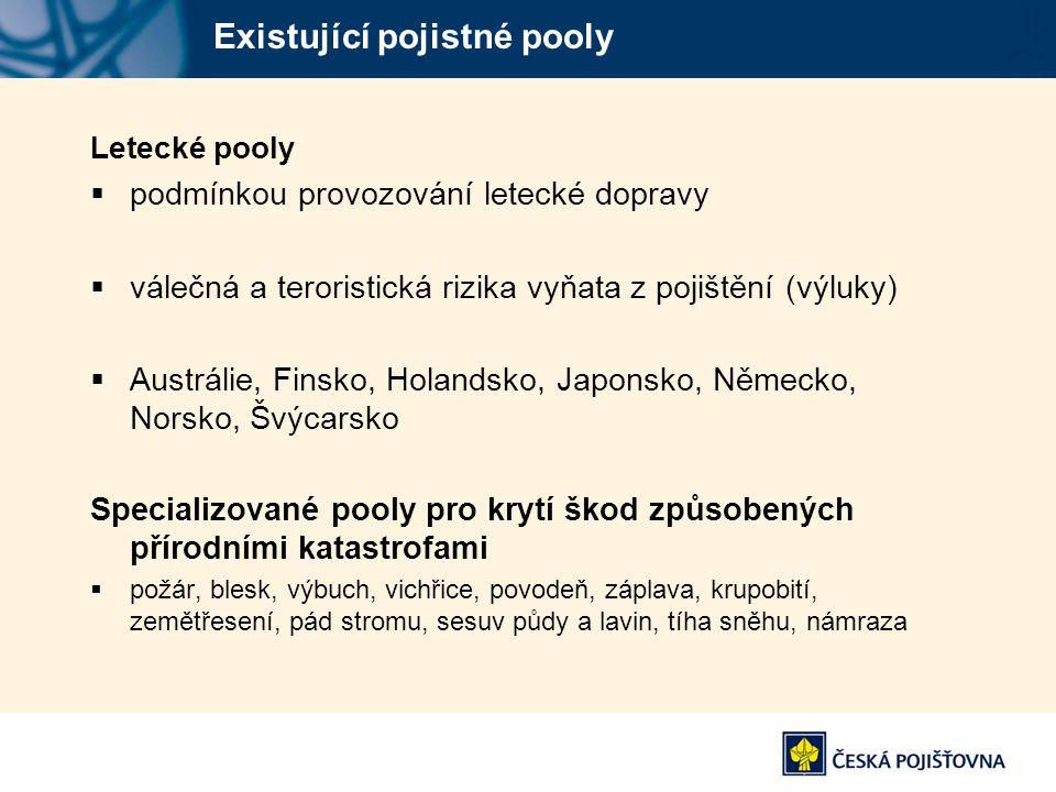 Existující pojistné pooly Letecké pooly  podmínkou provozování letecké dopravy  válečná a teroristická rizika vyňata z pojištění (výluky)  Austráli