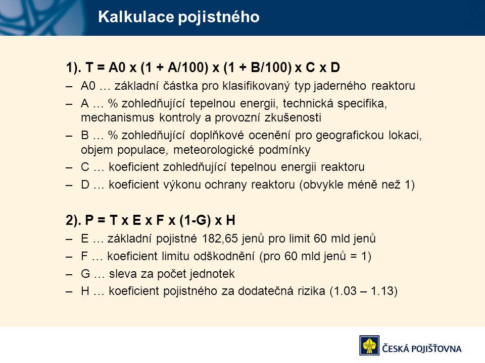 Kalkulace pojistného 1). T = A0 x (1 + A/100) x (1 + B/100) x C x D –A0 … základní částka pro klasifikovaný typ jaderného reaktoru –A … % zohledňující