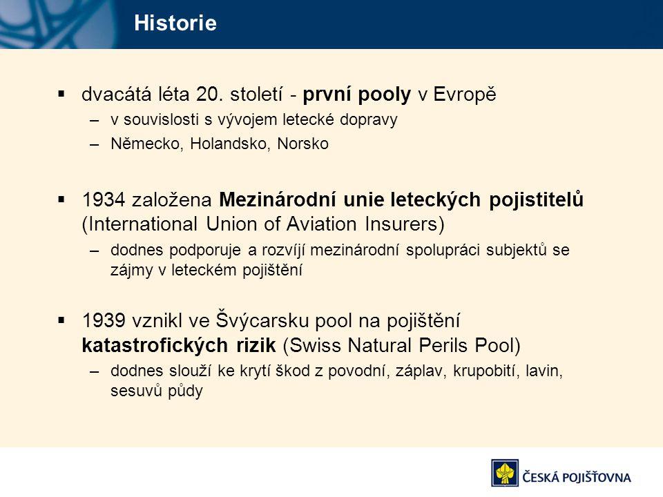 Historie  dvacátá léta 20. století - první pooly v Evropě –v souvislosti s vývojem letecké dopravy –Německo, Holandsko, Norsko  1934 založena Meziná