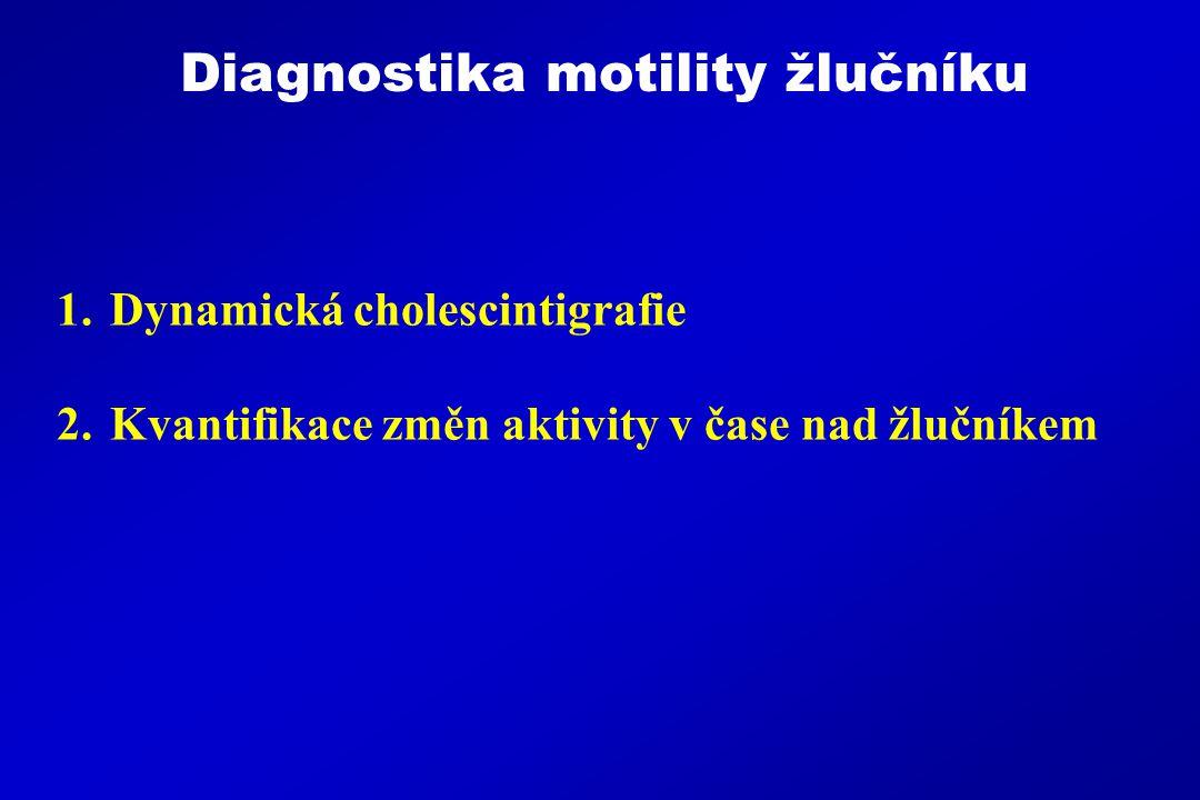 1.Dynamická cholescintigrafie 2.Kvantifikace změn aktivity v čase nad žlučníkem Diagnostika motility žlučníku