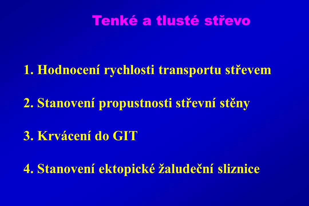1.Hodnocení rychlosti transportu střevem 2. Stanovení propustnosti střevní stěny 3.