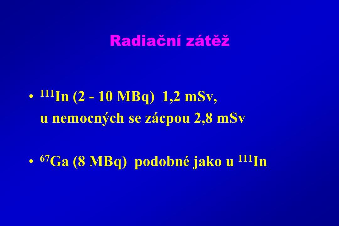 Radiační zátěž 111 In (2 - 10 MBq) 1,2 mSv, u nemocných se zácpou 2,8 mSv 67 Ga (8 MBq) podobné jako u 111 In