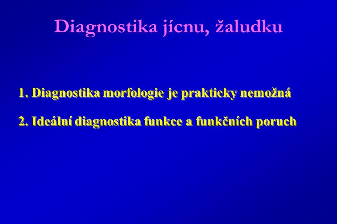 1.Diagnostika morfologie je prakticky nemožná 2. Ideální diagnostika funkce a funkčních poruch 1.