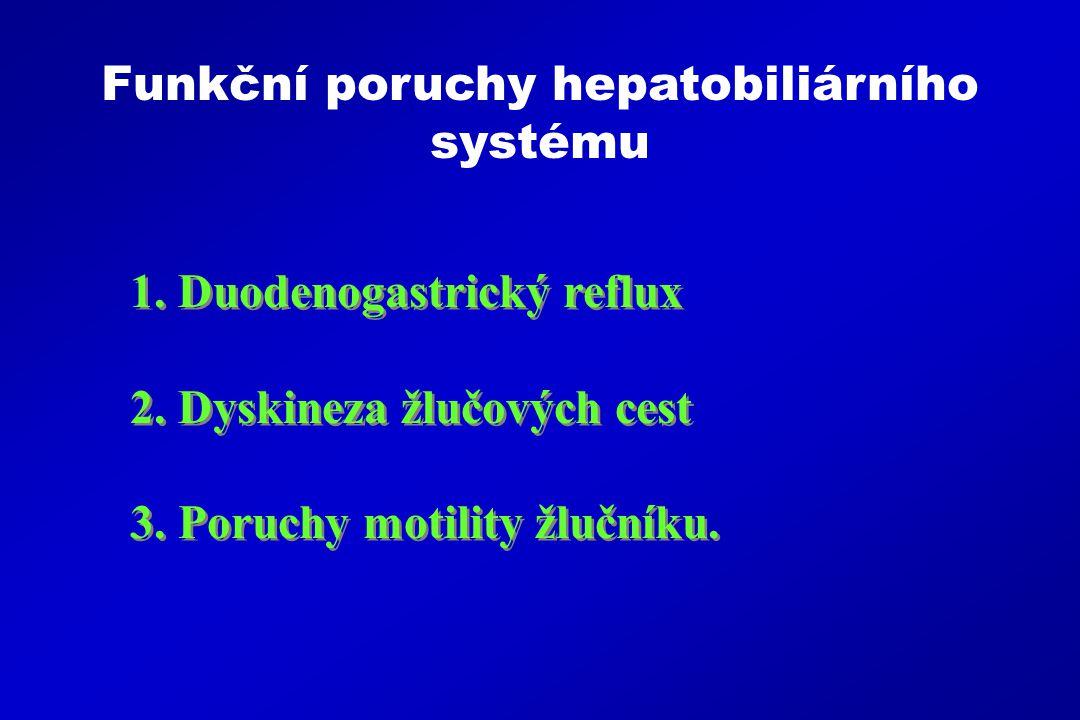 1.Duodenogastrický reflux 2.Dyskineza žlučových cest 3.