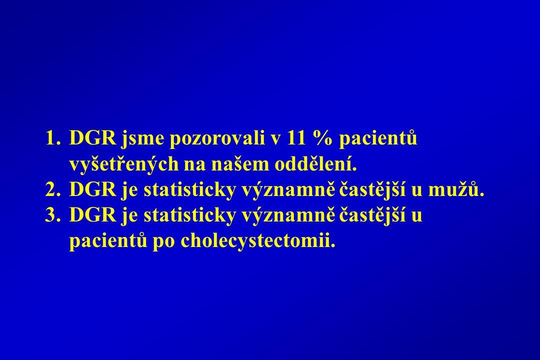 1.DGR jsme pozorovali v 11 % pacientů vyšetřených na našem oddělení.