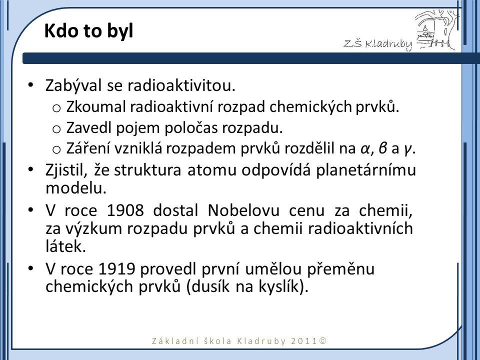 Základní škola Kladruby 2011  Kdo to byl Zabýval se radioaktivitou.