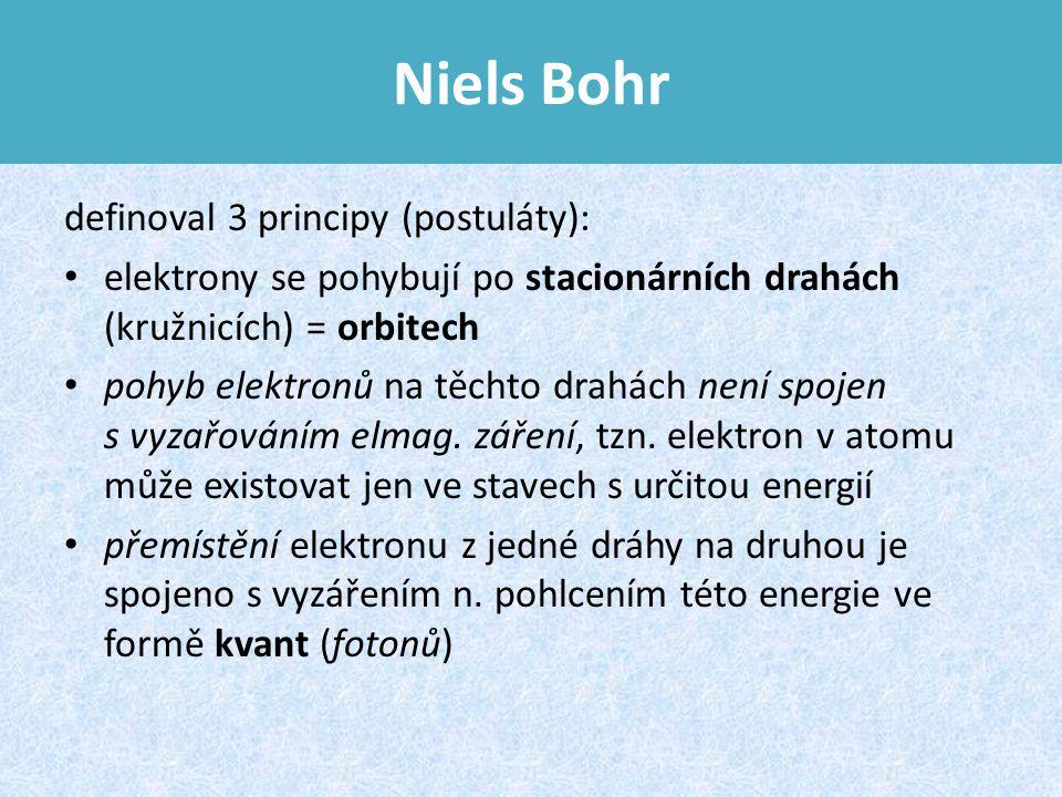 Niels Bohr definoval 3 principy (postuláty): elektrony se pohybují po stacionárních drahách (kružnicích) = orbitech pohyb elektronů na těchto drahách není spojen s vyzařováním elmag.