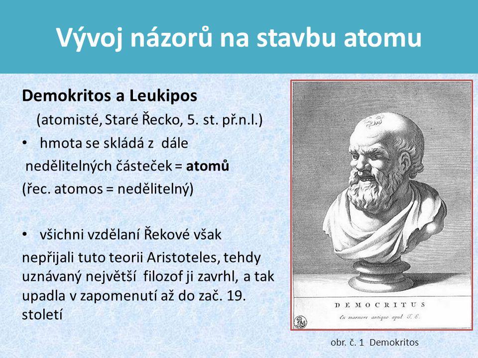 Vývoj názorů na stavbu atomu Demokritos a Leukipos (atomisté, Staré Řecko, 5.