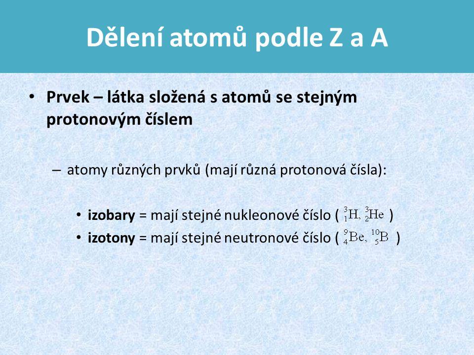 Dělení atomů podle Z a A Prvek – látka složená s atomů se stejným protonovým číslem – atomy různých prvků (mají různá protonová čísla): izobary = mají stejné nukleonové číslo ( ) izotony = mají stejné neutronové číslo ( )