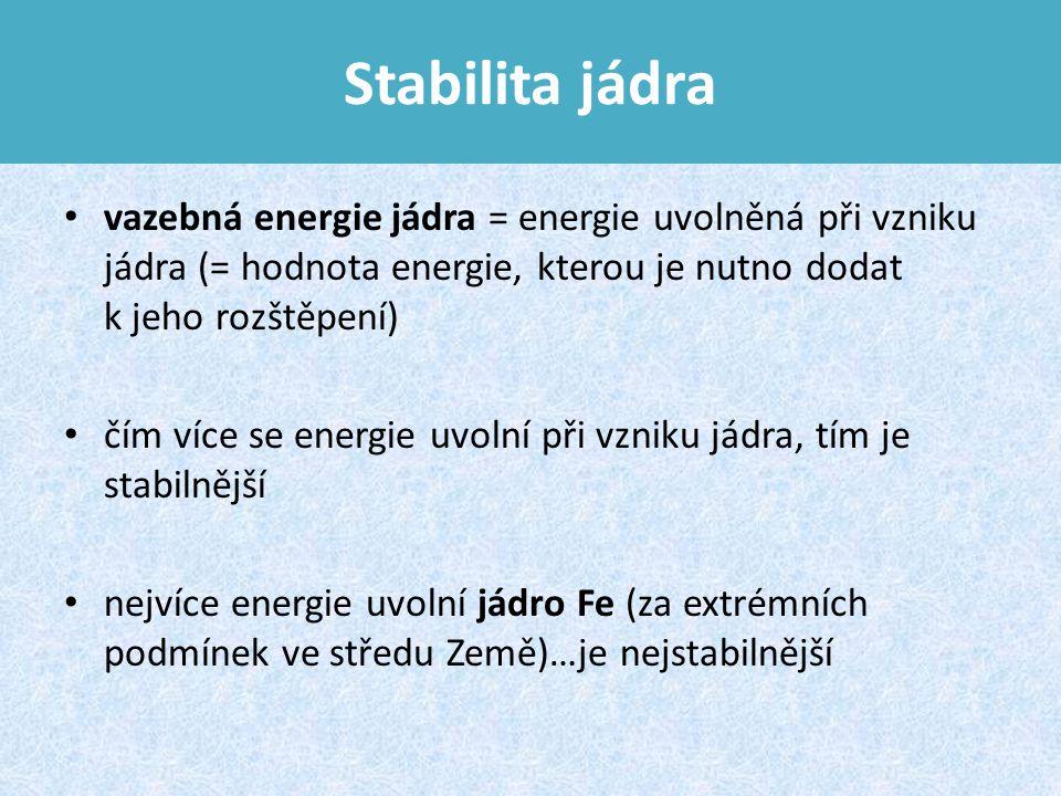 Stabilita jádra vazebná energie jádra = energie uvolněná při vzniku jádra (= hodnota energie, kterou je nutno dodat k jeho rozštěpení) čím více se energie uvolní při vzniku jádra, tím je stabilnější nejvíce energie uvolní jádro Fe (za extrémních podmínek ve středu Země)…je nejstabilnější