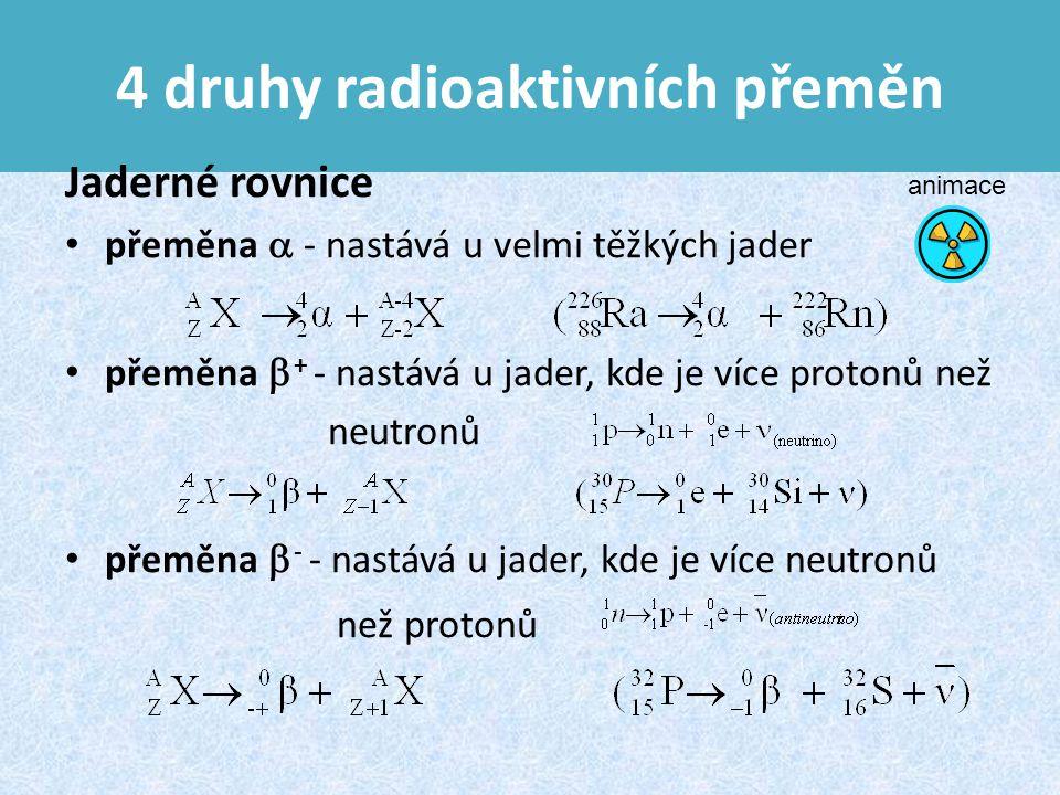 4 druhy radioaktivních přeměn Jaderné rovnice přeměna  - nastává u velmi těžkých jader přeměna  + - nastává u jader, kde je více protonů než neutronů přeměna  - - nastává u jader, kde je více neutronů než protonů animace