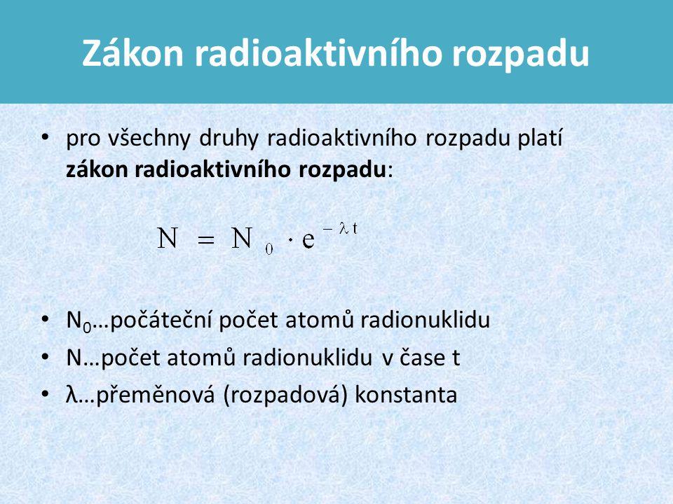 Zákon radioaktivního rozpadu pro všechny druhy radioaktivního rozpadu platí zákon radioaktivního rozpadu: N 0 …počáteční počet atomů radionuklidu N…počet atomů radionuklidu v čase t λ…přeměnová (rozpadová) konstanta