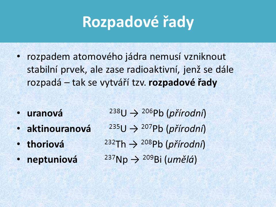 Rozpadové řady rozpadem atomového jádra nemusí vzniknout stabilní prvek, ale zase radioaktivní, jenž se dále rozpadá – tak se vytváří tzv.