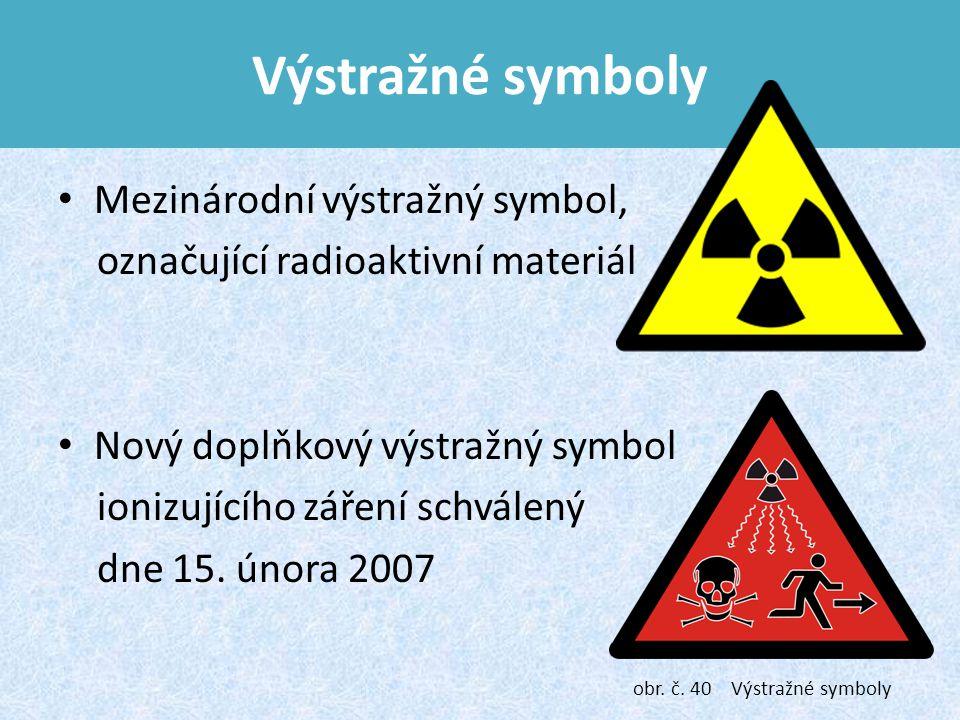 Výstražné symboly Mezinárodní výstražný symbol, označující radioaktivní materiál Nový doplňkový výstražný symbol ionizujícího záření schválený dne 15.