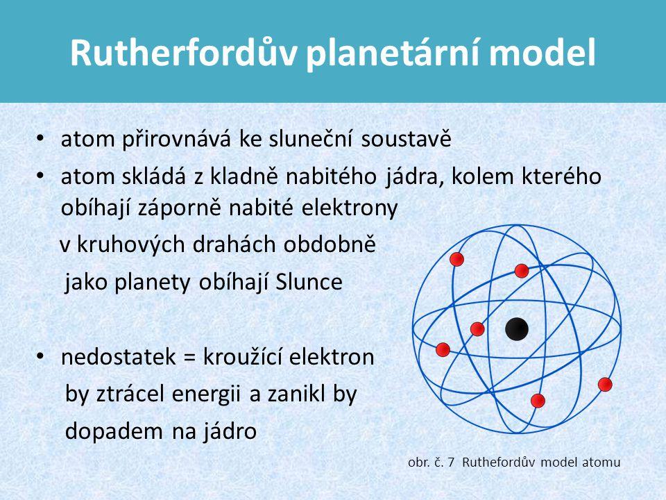 Rutherfordův planetární model atom přirovnává ke sluneční soustavě atom skládá z kladně nabitého jádra, kolem kterého obíhají záporně nabité elektrony v kruhových drahách obdobně jako planety obíhají Slunce nedostatek = kroužící elektron by ztrácel energii a zanikl by dopadem na jádro obr.