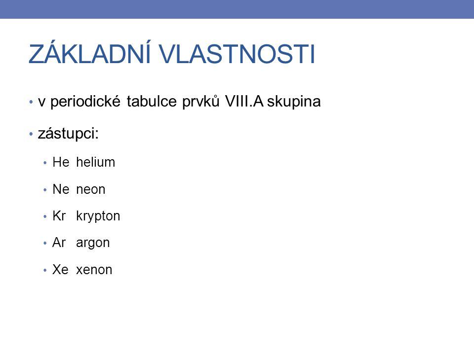 ZÁKLADNÍ VLASTNOSTI v periodické tabulce prvků VIII.A skupina zástupci: Hehelium Neneon Krkrypton Arargon Xexenon