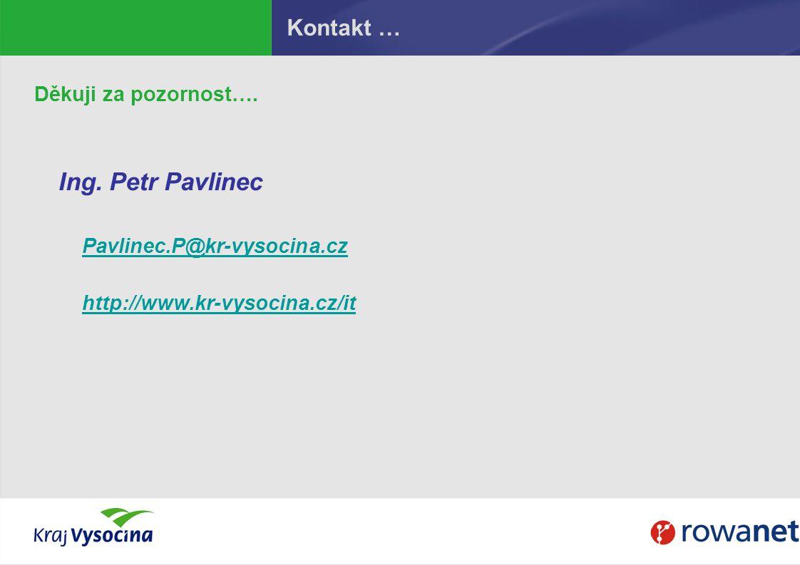Kontakt … Děkuji za pozornost…. Ing. Petr Pavlinec Pavlinec.P@kr-vysocina.cz http://www.kr-vysocina.cz/it