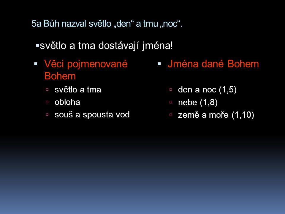 """5a Bůh nazval světlo """"den"""" a tmu """"noc"""".  Věci pojmenované Bohem  světlo a tma  obloha  souš a spousta vod  Jména dané Bohem  den a noc (1,5)  n"""