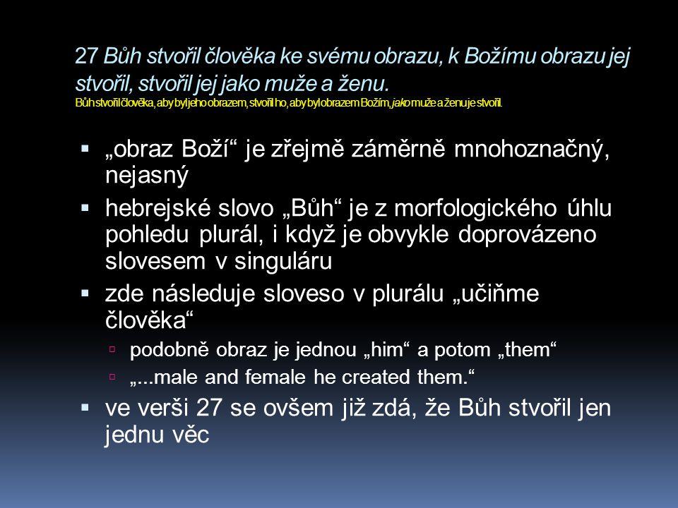 27 Bůh stvořil člověka ke svému obrazu, k Božímu obrazu jej stvořil, stvořil jej jako muže a ženu. Bůh stvořil člověka, aby byl jeho obrazem, stvořil