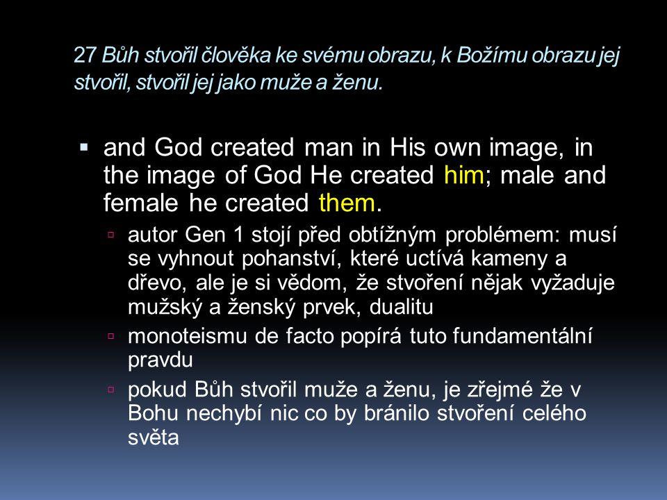 27 Bůh stvořil člověka ke svému obrazu, k Božímu obrazu jej stvořil, stvořil jej jako muže a ženu.  and God created man in His own image, in the imag
