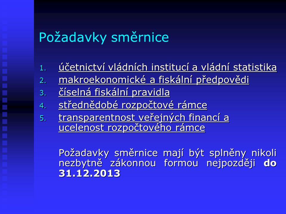 Požadavky směrnice 1. účetnictví vládních institucí a vládní statistika 2.