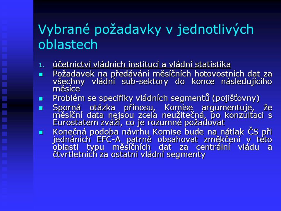 Vybrané požadavky v jednotlivých oblastech 5.