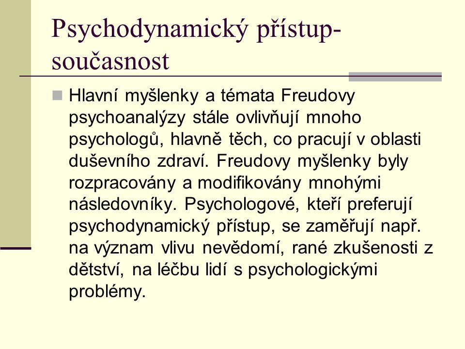 Psychodynamický přístup- současnost Hlavní myšlenky a témata Freudovy psychoanalýzy stále ovlivňují mnoho psychologů, hlavně těch, co pracují v oblast
