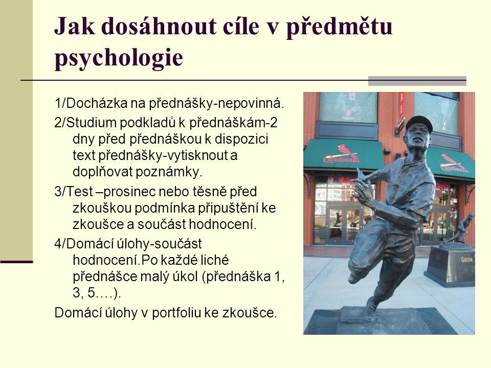 Jak dosáhnout cíle v předmětu psychologie 1/Docházka na přednášky-nepovinná. 2/Studium podkladů k přednáškám-2 dny před přednáškou k dispozici text př