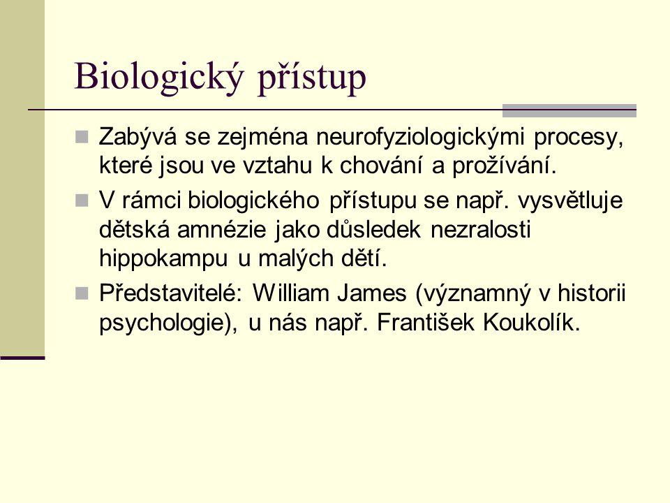 Biologický přístup Zabývá se zejména neurofyziologickými procesy, které jsou ve vztahu k chování a prožívání. V rámci biologického přístupu se např. v