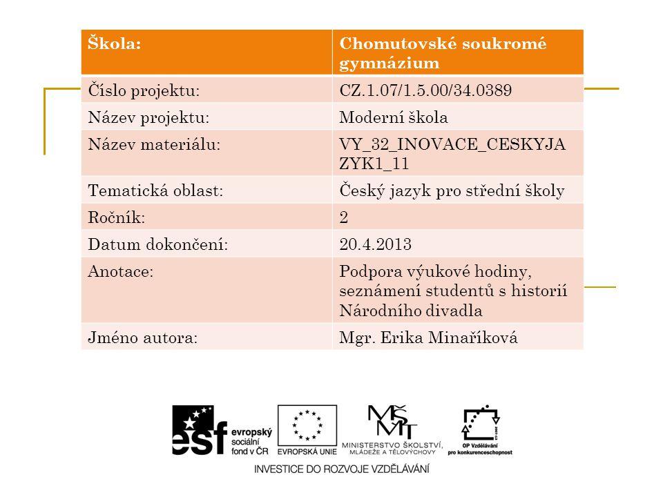 Škola:Chomutovské soukromé gymnázium Číslo projektu:CZ.1.07/1.5.00/34.0389 Název projektu:Moderní škola Název materiálu:VY_32_INOVACE_CESKYJA ZYK1_11