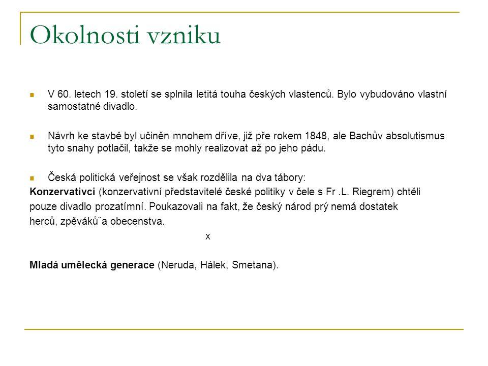 Okolnosti vzniku V 60. letech 19. století se splnila letitá touha českých vlastenců. Bylo vybudováno vlastní samostatné divadlo. Návrh ke stavbě byl u