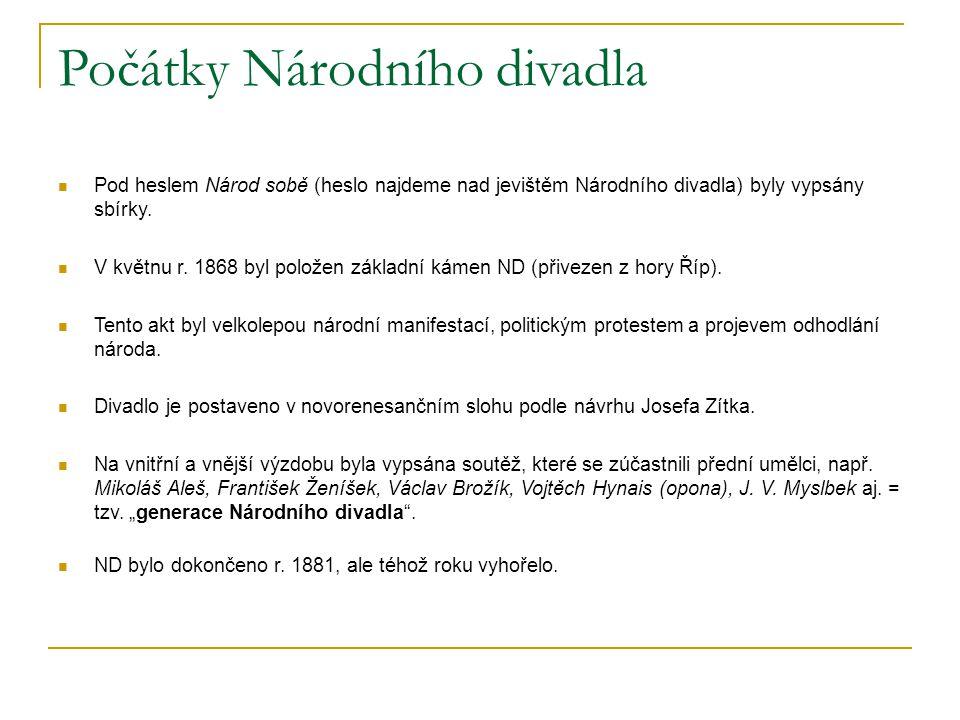 Počátky Národního divadla Pod heslem Národ sobě (heslo najdeme nad jevištěm Národního divadla) byly vypsány sbírky.