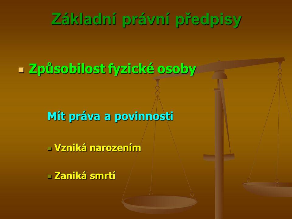 Základní právní předpisy Způsobilost fyzické osoby Způsobilost fyzické osoby Způsobilost k právním úkonům Vlastními právními úkony nabývat práv a brát na sebe povinnosti vzniká v plném rozsahu zletilostí Vlastními právními úkony nabývat práv a brát na sebe povinnosti vzniká v plném rozsahu zletilostí