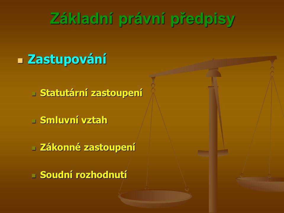 Základní právní předpisy Zastupování Zastupování Statutární zastoupení Statutární zastoupení Smluvní vztah Smluvní vztah Zákonné zastoupení Zákonné zastoupení Soudní rozhodnutí Soudní rozhodnutí