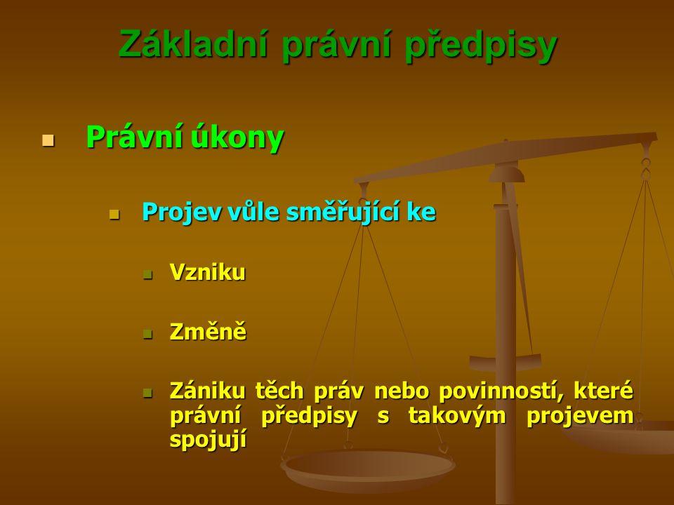Základní právní předpisy Právní úkony Právní úkony Projev vůle směřující ke Projev vůle směřující ke Vzniku Vzniku Změně Změně Zániku těch práv nebo povinností, které právní předpisy s takovým projevem spojují Zániku těch práv nebo povinností, které právní předpisy s takovým projevem spojují