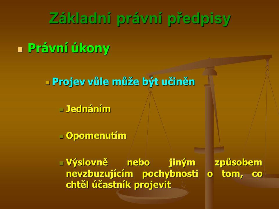 Základní právní předpisy Právní úkony Právní úkony Projev vůle může být učiněn Projev vůle může být učiněn Jednáním Jednáním Opomenutím Opomenutím Výslovně nebo jiným způsobem nevzbuzujícím pochybnosti o tom, co chtěl účastník projevit Výslovně nebo jiným způsobem nevzbuzujícím pochybnosti o tom, co chtěl účastník projevit