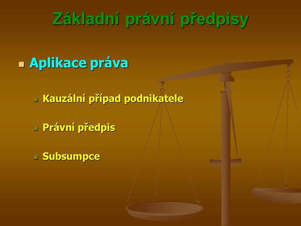 Základní právní předpisy Aplikace práva Aplikace práva Kauzální případ podnikatele Kauzální případ podnikatele Právní předpis Právní předpis Subsumpce Subsumpce