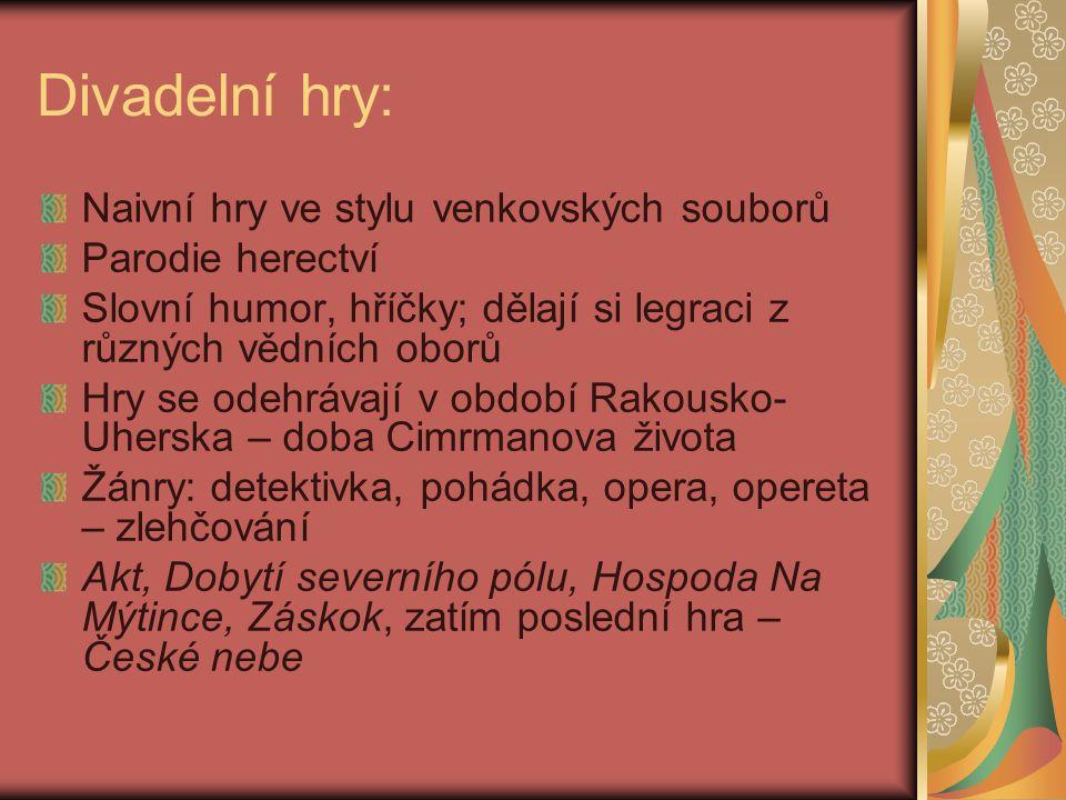 Významné postavy divadla Járy Cimrmana Zdeněk Svěrák (*1936) Ladislav Smoljak (1931 – 2011) autoři písňových textů, film.