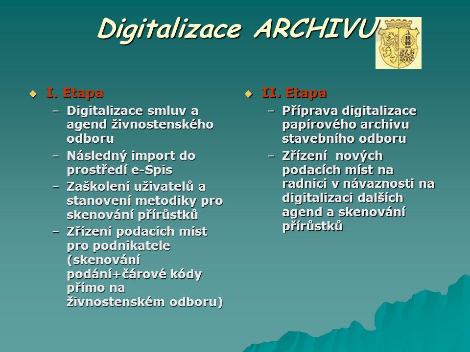 Digitalizace ARCHIVU  II. Etapa –Příprava digitalizace papírového archivu stavebního odboru –Zřízení nových podacích míst na radnici v návaznosti na