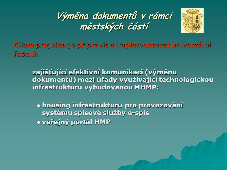 Výměna dokumentů v rámci městských částí Cílem projektu je připravit a implementovat univerzální řešení: zajišťující efektivní komunikaci (výměnu doku