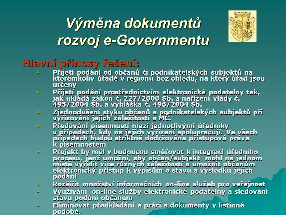Výměna dokumentů rozvoj e-Governmentu Hlavní přínosy řešení:  Přijetí podání od občanů či podnikatelských subjektů na kterémkoliv úřadě v regionu bez