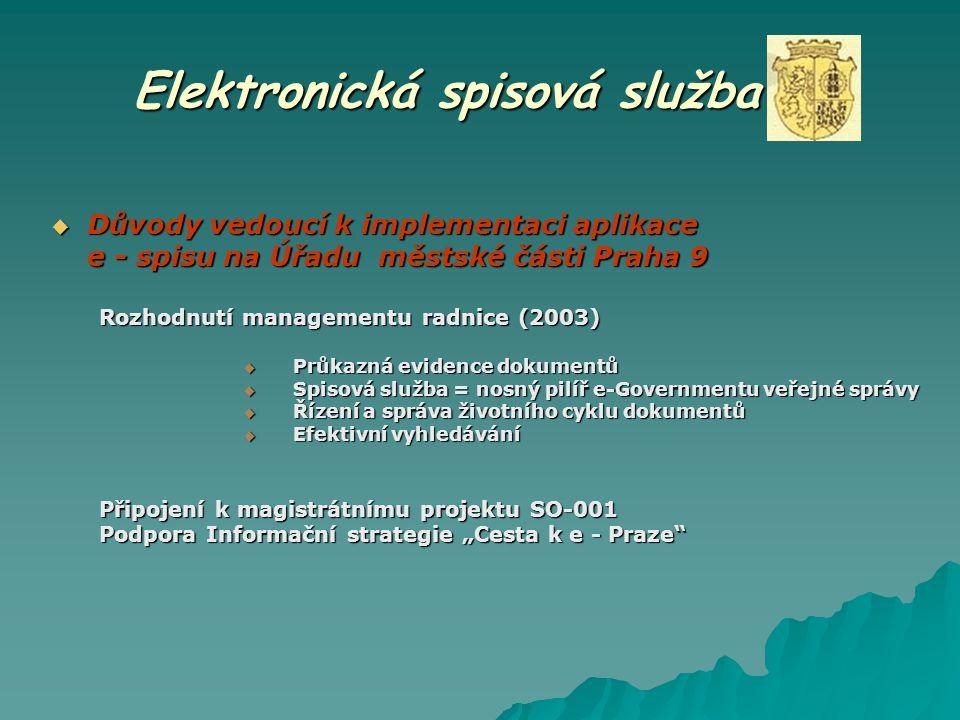 Elektronická spisová služba  Důvody vedoucí k implementaci aplikace e - spisu na Úřadu městské části Praha 9 Rozhodnutí managementu radnice (2003) 