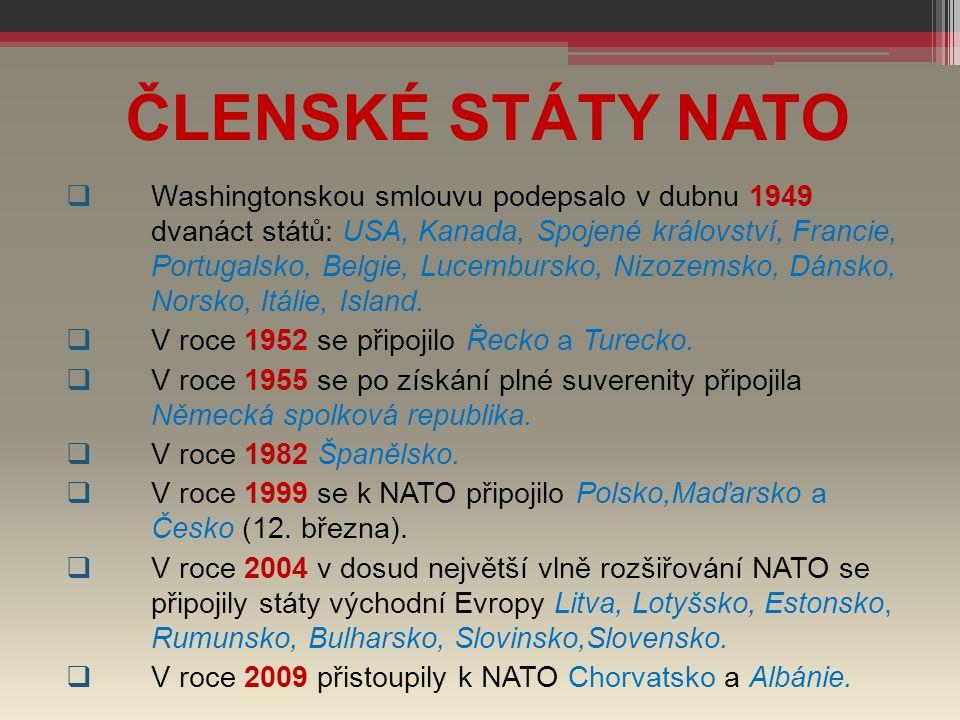  Washingtonskou smlouvu podepsalo v dubnu 1949 dvanáct států: USA, Kanada, Spojené království, Francie, Portugalsko, Belgie, Lucembursko, Nizozemsko,