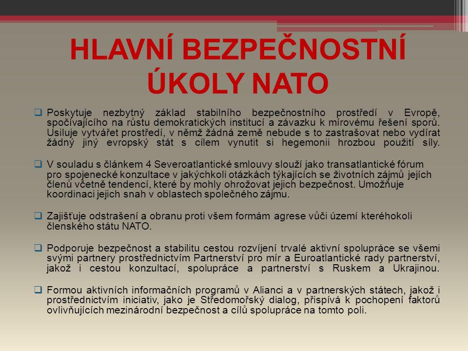HLAVNÍ BEZPEČNOSTNÍ ÚKOLY NATO  Poskytuje nezbytný základ stabilního bezpečnostního prostředí v Evropě, spočívajícího na růstu demokratických institu