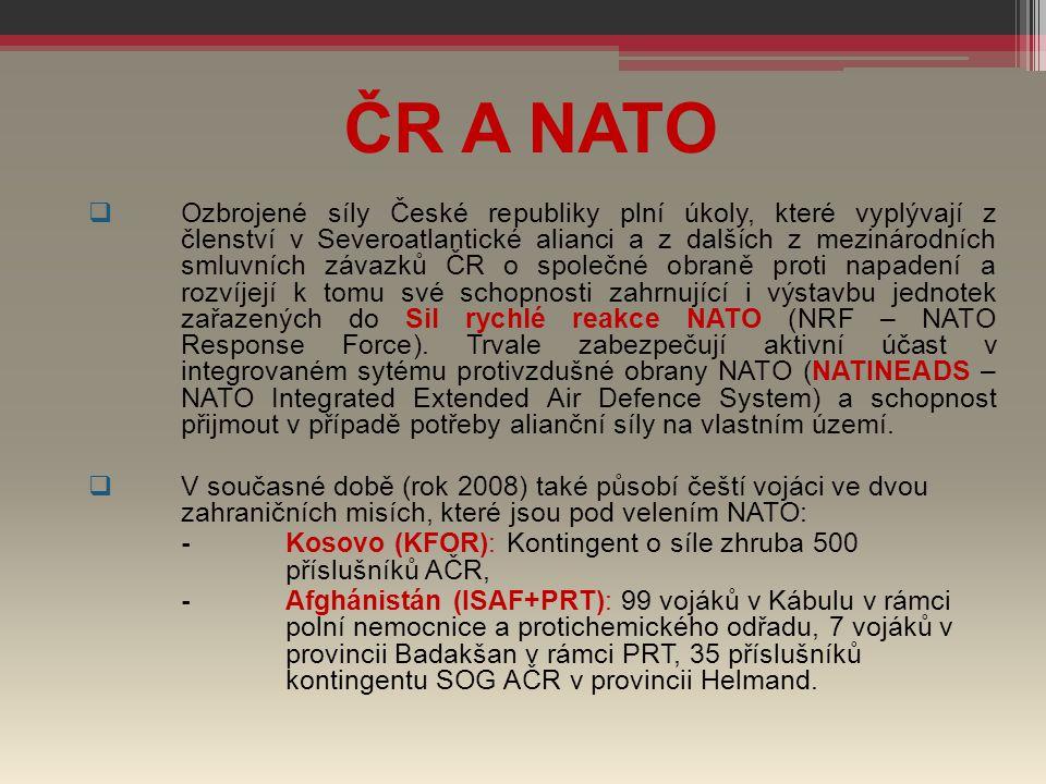 ČR A NATO  Ozbrojené síly České republiky plní úkoly, které vyplývají z členství v Severoatlantické alianci a z dalších z mezinárodních smluvních záv