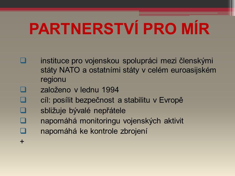 PARTNERSTVÍ PRO MÍR  instituce pro vojenskou spolupráci mezi členskými státy NATO a ostatními státy v celém euroasijském regionu  založeno v lednu 1