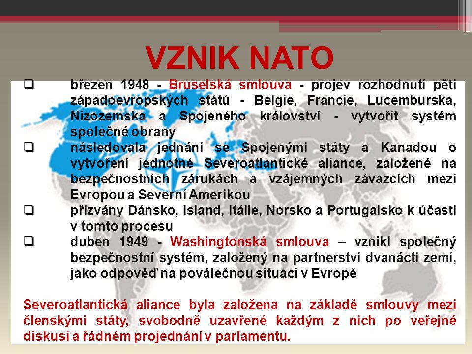 VZNIK NATO  březen 1948 - Bruselská smlouva - projev rozhodnutí pěti západoevropských států - Belgie, Francie, Lucemburska, Nizozemska a Spojeného kr
